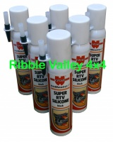 WURTH RTV SUPER SILICONE BLACK 200ml HIGH TEMP GASKET X 6